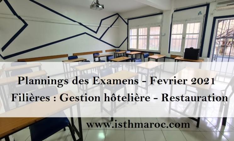 Avis et Emplois du temps - Examens session Février 2021